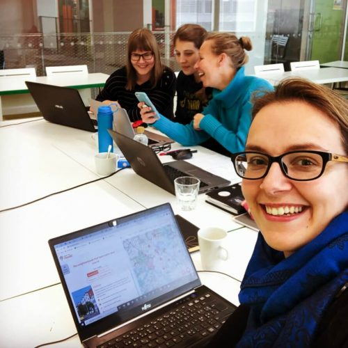 CYFin suunnittelupäivässä vasemmalta Hanna, Katerina, Soile, Susanna